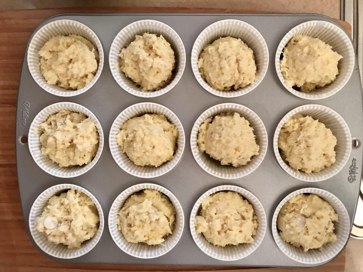 Muffin rafaelo těsto před pečením