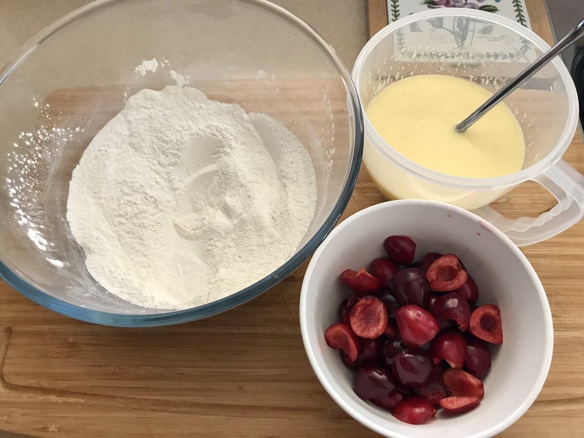 Muffiny s třešněmi suroviny